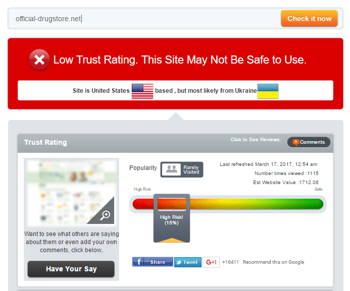 Official-drugstore.net Trust Rating