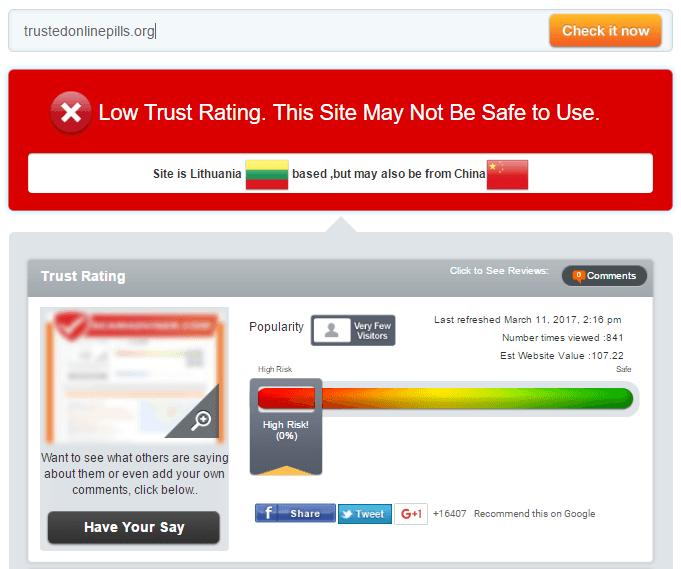 Trustedonlinepills.com Trust Rating