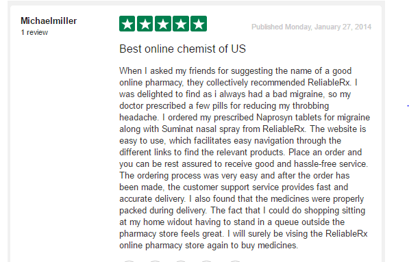 Reliablerxpharmacy.com Customer Review