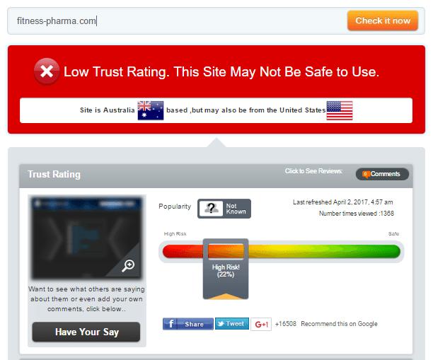 Fitness-pharma.com Trust Rating