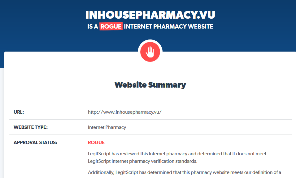 Inhousepharmacy.vu is a Rogue Website