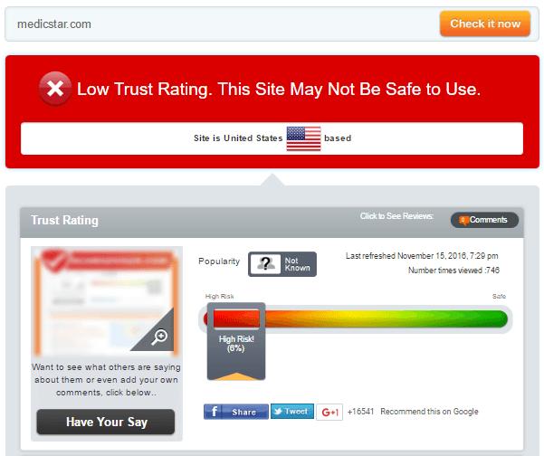 Medicstar.com Trust Rating