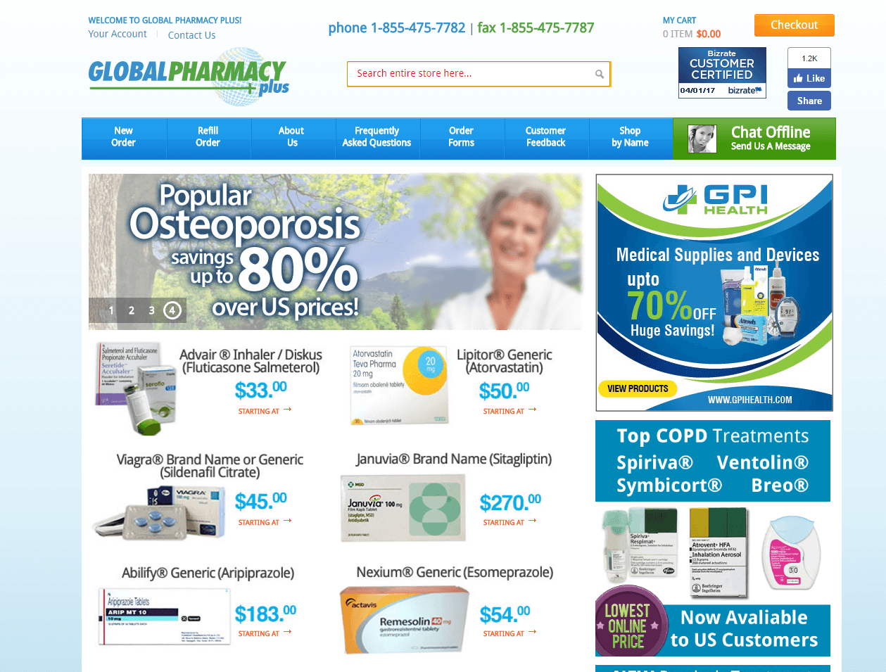 Globalpharmacyplus.com Main Page