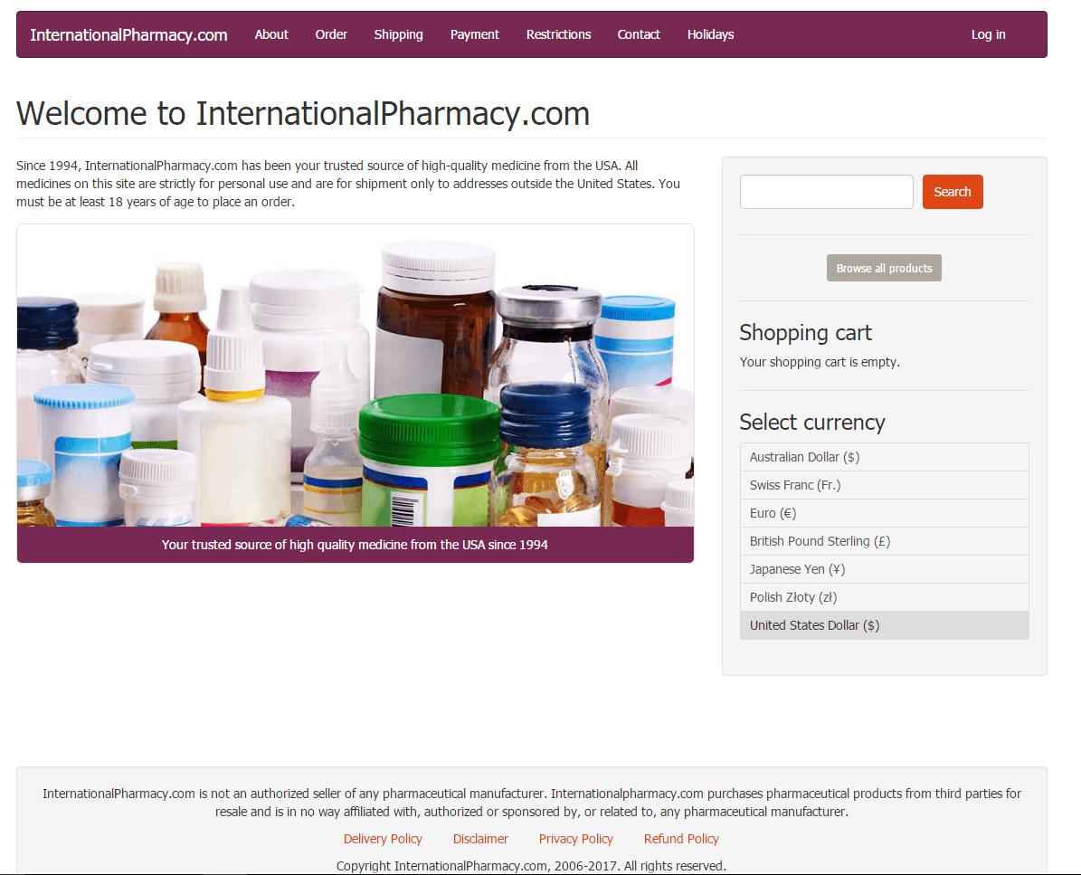Internationalpharmacy.com Main Page