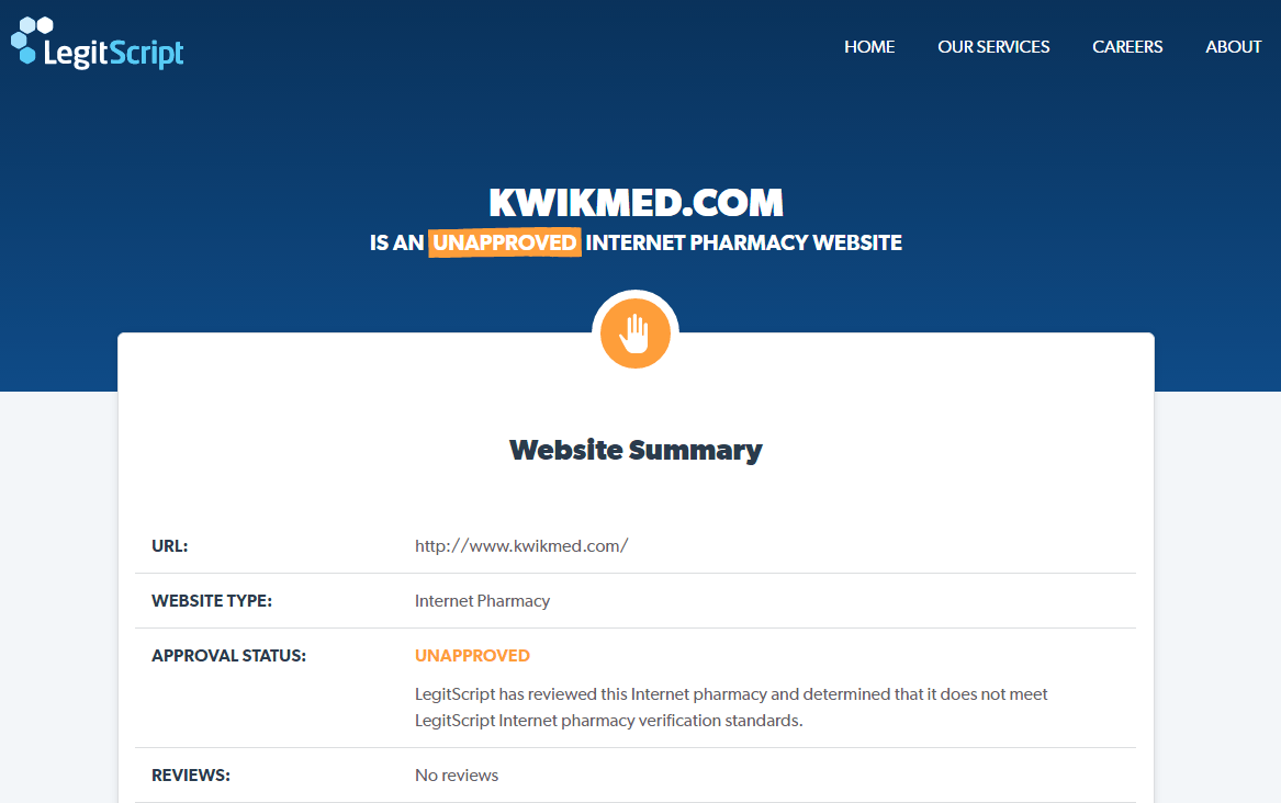Kwikmed.com is Unapproved Internet Pharmacy