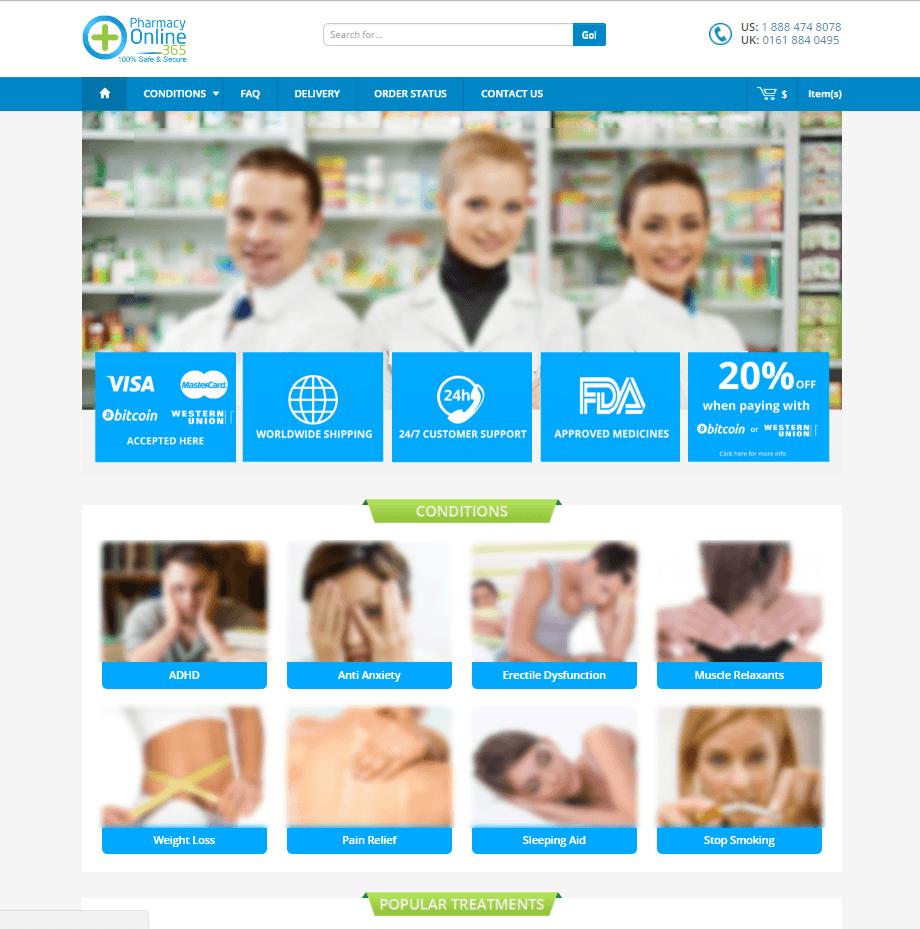 Pharmacyonline365.com Main Page