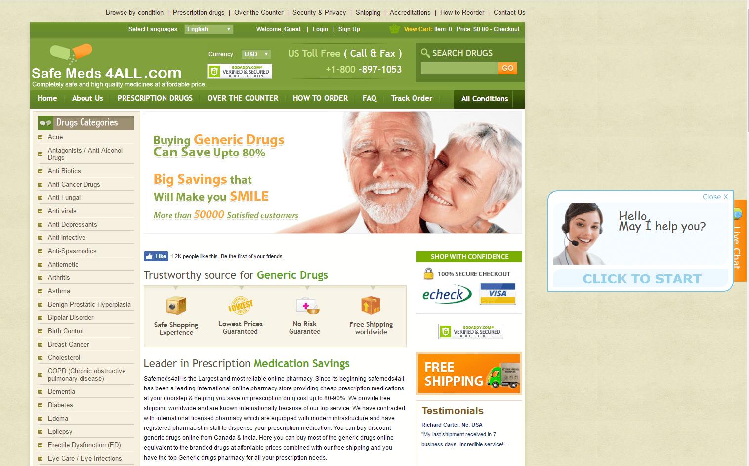 Safemeds4all.com Main Page