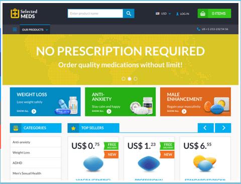 Selectedmeds.com Main Page
