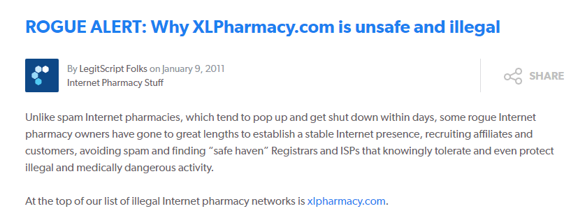 Xlpharmacy.com Feedback in 2016