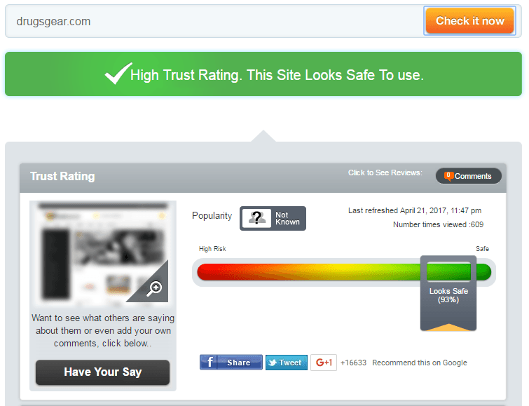 Drugsgear.com Trust Rating