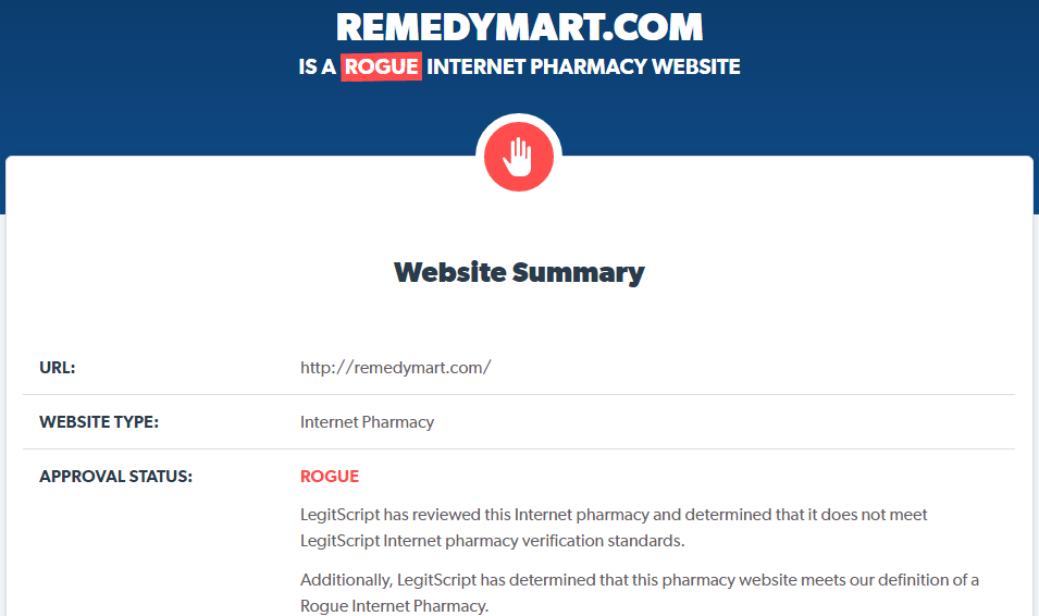 Remedymart.com is a Rogue Website