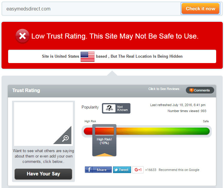 Easymedsdirect.com Trust Rating